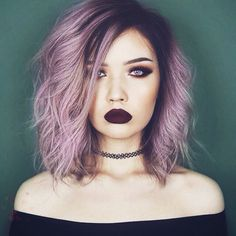 Pastel Grunge Dark Lipstick Makeup with Purple Hairstyle and Choker
