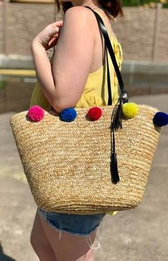 6a508e60866d Bright Colored Woven Hand Clutch Bags with Pom Pom