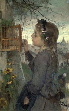 Girl feeding her Bird in a Cage  Jacob Maris - circa 1867