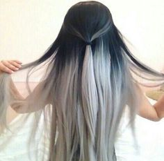 Black to grey ombre hair, black to silver ombre hair, silver hair color, ash blonde hair color