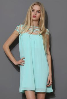 Mint Blue Cage Chiffon Dress Top-- need to explore this site for bridesmaid dresses