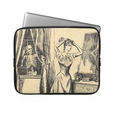 Skeleton Spying on Victorian Lady Vintage Goth Art Laptop Computer Sleeve by ValsVintage