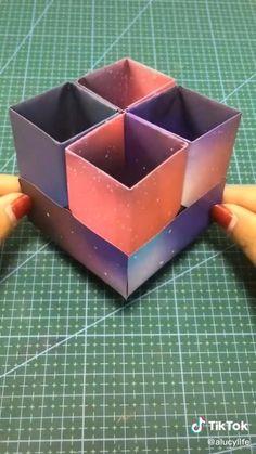 Cool Paper Crafts, Paper Crafts Origami, Creative Crafts, Diy Paper, Disney Diy Crafts, Diy Crafts For Girls, Diy Crafts Hacks, Instruções Origami, Origami Boxes