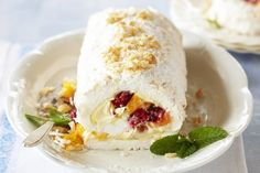 A simple variation on traditional pavlova, roulade makes a memorable dessert, especially served with tasty peach & raspberries.