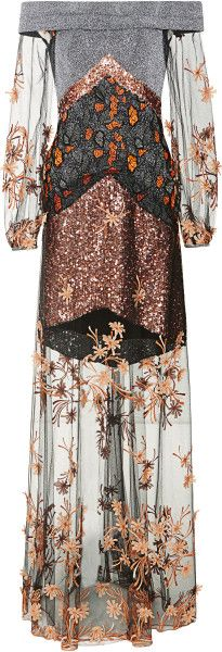 Love this: Metallic Off Shoulder Gown with Floral Embroidered Tulle  RODARTE dressmesweetiedarling