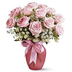 Pink Dozen Roses & Lace for Valentine's Day