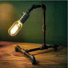 Tubo-Galvanizado-Industrial-De-Mesa-Lampara-de-Luz-Iluminacion-Bar-bombilla-de-Edison-Steampunk