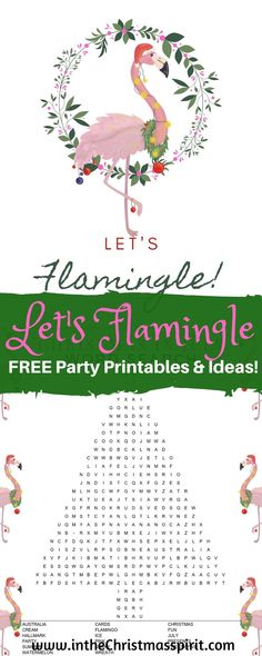 Throw a fun Let's Flamingle Christmas in July Party with these FREE party printables including printable banner, sign, word search, bingo, and activities. Perfect summer party for kids or adults or both! Summer Christmas, Christmas Games, Xmas, Party Printables, Free Printables, Printable Banner, Flamingo Party Supplies, Baby Shower Crafts, Christmas Party Decorations