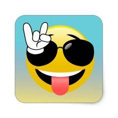 #Rock On Smiley Emoji Ombre Stickers - #emoji #emojis #smiley #smilies