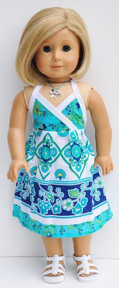 American Girl Clothes - Aqua and Blue Halter Sundress with Headband