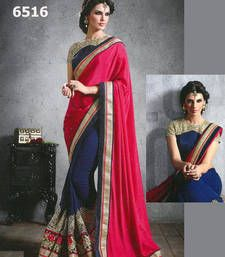 Buy Pink, Blue embroidered georgette saree with blouse party-wear-saree online