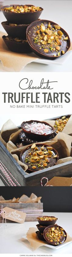 No Bake Chocolate Truffle Tarts | perfect for holiday gift giving | by Carrie Sellman for TheCakeBlog.com