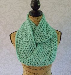 Infinity Scarf Crochet Knit Winter Ocean Sea by SouthernStitchesCo
