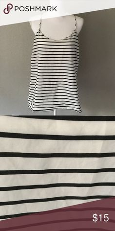 J. Crew Striped Tank This top is super cute and trendy. It has spaghetti straps and perfect for a jacket, or to wear alone! Racerback style. Great condition!   Please ask ALL questions before purchasing so I can make your experience in shopping through my closet, a five star experience ⭐️⭐️⭐️⭐️⭐️ 🚭Smoke-Free home Please ask for measurements if necessary. I do bundles, and if you don't offer, I can't say yes!  Happy Poshing! J. Crew Tops Tank Tops