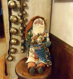 Primitive Old Blue Patchwork Quilt Santa Claus