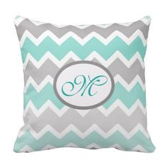 Personalized Monogram Aqua Blue and Gray Grey Ombre Chevron Throw Pillow for baby nursery or any home decor #decampstudios