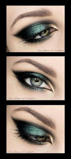 Peacock inspired eye make up. Green and black eye makeup. Glamorous wedding make up. Boho Bride make up. Wild bride make up Best Makeup Tips, Makeup Tricks, Best Makeup Products, Makeup Tutorials, Beauty Products, Gorgeous Makeup, Pretty Makeup, Makeup Looks, Hey Gorgeous