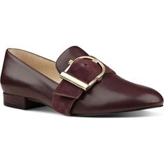 Nine West Zance Buckle Strap Loafers ($89) ❤ liked on Polyvore featuring shoes, loafers, round toe shoes, nine west, loafers moccasins, nine west shoes and oversized shoes
