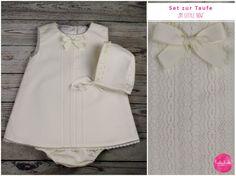 Taufbekleidung - Set: Taufkleid creme weiß + Höschen + Mütze - ein Designerstück von lubukidz bei DaWanda