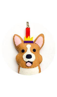Corgi felt keychain key ring / bag charm / ornament