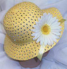 Yellow Easter Bonnet Easter Hat Toddler Little Girls w Bright Yellow Flower New | eBay