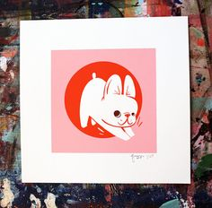 From a series of illustrations I did of my dog Reggie for www.dogmilk.com ; now a limited edition (of a mere 25!) silk screened print! 3 color inks