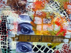 """Lisa's Collage Stuff Blog - I used clean up papers from making gelli prints, clean-up paper towels, leftover leaves, bits of book pages, you get the idea!  When it was dry, I stenciled with the Stencil Girl Club October stencils and acrylic paints.  This was fun!  I will cut this """"paper"""" up and use it in my art journals."""