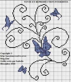 Grille gratuite point de croix : Papillons arabesque
