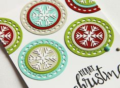 Card by Heather Pulvirenti. Reverse Confetti stamp set: Christmas Blessings. Confetti Cuts: Lacy Scallop Circles and Snowflake Trio. Christmas card. Holiday card.
