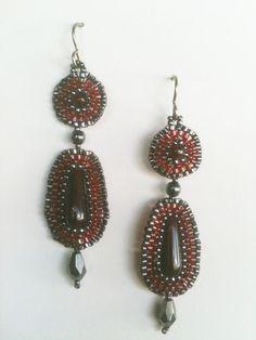 Earrings:  Burgundy Garnet Red & Hematite Dark Silver Seed Bead Woven Circles with Beaded Drops, Handmade, One of a Kind, OOAK