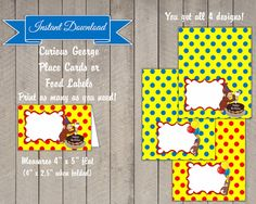 PRINTABLE Curious George Food Labels and/or Place Cards- Curious George Party Supplies, $3.00