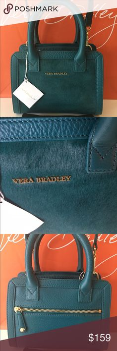 🆕VERA BRADLEY NEW LEATHER SHOULDER/CROSSBODY 💯AU VERA BRADLEY NEW NEVER USED WITH TAGS LEATHER SHOULDER/ CROSSBODY BAG 100% AUTHENTIC. STUNNING AND STYLISH TOTALLY ON TREND. TRUE HIGH END LUXURY! THE LOVELY BAG HAS A HREAT REAR ZIP OUTSIDE POCKET! THE BAG HAS A ZIP TOP , A ZIP INTERIOR WALL POCKET AND 3 CARD SLOTS! PERFECT FOR THE STYLISH WOMAN ON THE GO. THE COLOR IS DARK TEAL. IT MEASURES  9 INCHES WIDE BY 7 INCHES TALL! THE PERFECT BAG. COMES WITH A LONG ADJUSTABLE AND REMOVABLE…
