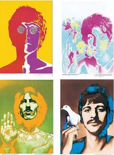 "After Richard Avedon (American, 1923-2004) The Beatles. Four lithograph posters published by Populare Propaganda Presse Dusseldorf. Each poster is titled in German Sights: 26.5"" x 18.5"" Frames: 30"" x 22"""