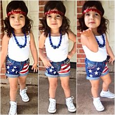 Sparkle headband..DIY flag shorts..converse.. Fourth of July outfit Toddler fashion
