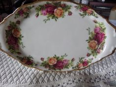 Royal Albert. Old Country Roses, Oval tray,  1962 china, Royal Albert tray, 22ct gilding, Country Roses, English bone china, by MaddisonsRainbow on Etsy