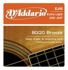 D'Addario EJ10 Bronze Acoustic Guitar Strings, Extra Light, 10-47 by D'Addario. $4.99. From the Manufacturer                D'Addario's lightest gauge of acoustic strings, EJ10s are ideal for beginners or players who prefer a softer tone and easy bending.80/20 Bronze, commonly referred to as brass, is the original acoustic string alloy selected by John D'Addario Sr. and John D'Angelico in the 1930s. 80/20 Bronze strings are popular for recording due to their cris...