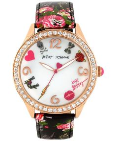 Betsey Johnson Women's Rose Gold-Tone Floral-Printed Strap Watch 42mm BJ00131-63