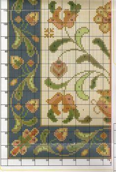 Cross Stitch Borders, Cross Stitch Flowers, Cross Stitch Charts, Cross Stitching, Needlepoint Patterns, Cross Stitch Patterns, Diy Embroidery, Cross Stitch Embroidery, Muñeca Diy