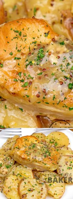 These Slow Cooker Dijon Pork Chops and Potatoes from The Midnight Baker is made with super simple ingredients that you probably already have on hand! It's a versatile recipe that is perfect any night of the week!