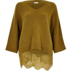 River Island Mustard lace hem V-neck sweater ($76) ❤ liked on Polyvore featuring tops, sweaters, knitwear, yellow, lace sweater, v-neck sweater, long sleeve v neck top, v-neck tops and mustard yellow sweater