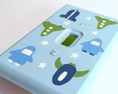 TYS bed set !   Rocket Ship Light Switch Cover - Custom and Hand Painted for Nursery or Bedroom, Optional Personalization