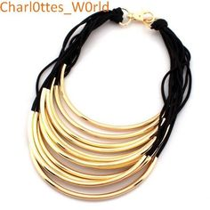 Women s Fashion Necklace.BLACK AND GOLD STATEMENT NECKLACE,2 colors.FREE POSTAGE