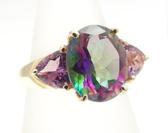 Vintage Gold Mystic Topaz Ring in 10K Gold, Size 8, Mystic Topaz Cluster, Solid 10K Gold Ring, Iridescent, Cocktail Ring, Right Hand Ring