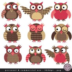 Owl Clip Art - Choco Pink Owls - in Brown and Pink