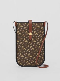 BURBERRY Monogram Print E-canvas Phone Case with Strap. #burberry