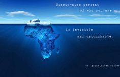 """""""Ninety-nine percent of who you are is invisible and untouchable."""" - R. Buckminster Fuller  Quote"""