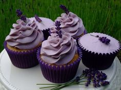 Lavender Lemon Cupcakes. I like the frosting design on these, and that they are filled with lemon curd.