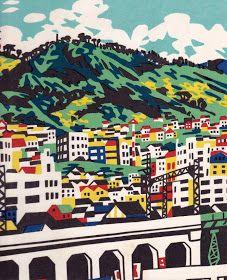 Kobe with Rokko Mountain Range in Background - woodblock print by Hide KAWANISHI, Japan 川西英「神戸百景 99 神戸背山」