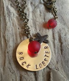 Stamped Brass Rock Lobster Necklace by BordersBeachShop on Etsy