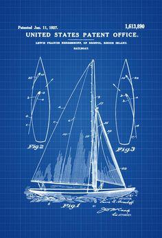 Herreshoff Sail Boat Patent Print - Vintage Sailboat Boat Blueprint Naval Art Sailor Gift Nautical Decor Sailboat Sailboat Decor by PatentsAsPrints Make A Boat, Build Your Own Boat, Boat Building Plans, Boat Plans, Sailboat Decor, Gifts For Sailors, Carpentry Skills, Boat Kits, Photo Printer